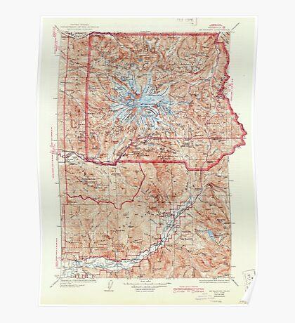 USGS Topo Map Washington State WA Mt Rainier 242674 1928 125000 Poster