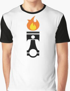 Flaming Piston (fire black) Graphic T-Shirt