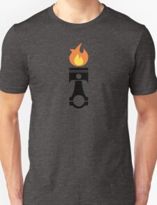 Flaming Piston (fire black) Unisex T-Shirt