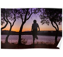 Boy Viewing Sunset On The Puget Sound Poster