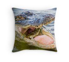Gator Eating Crab Throw Pillow