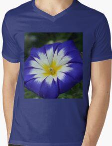 Flower Blue Mens V-Neck T-Shirt