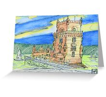 Belém Tower skecth on canvas Greeting Card