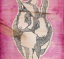 Bunny Love (on wood)  by fixtape