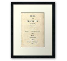 PRIDE and PREJUDICE Novel Cover Framed Print