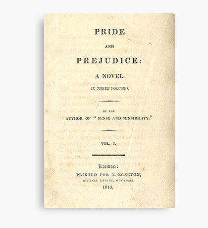 PRIDE and PREJUDICE Novel Cover Canvas Print