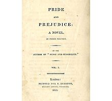 PRIDE and PREJUDICE Novel Cover Photographic Print