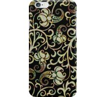Black And Pastel Colors Retro Floral Pattern iPhone Case/Skin