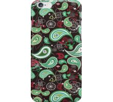 Black And Green Retro Paisley Pattern iPhone Case/Skin