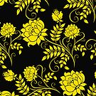 Black And Yellow Vintage Floral Damasks Pattern 2 by artonwear