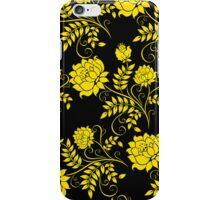 Black And Yellow Vintage Floral Damasks Pattern 2 iPhone Case/Skin