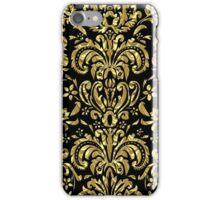 Black And Gold Tones Floral Damasks Pattern iPhone Case/Skin