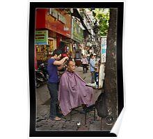 Vietnam - Hanoi   Barber in the Old Quarter Poster