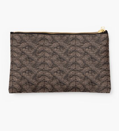Brown Haka Cable Knit Studio Pouch