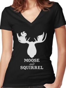 Supernatural - Moose and Squirrel  Women's Fitted V-Neck T-Shirt