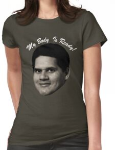 MY BODY IS REGGIE- TEXT Womens Fitted T-Shirt