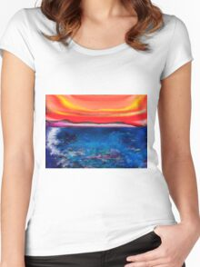 Abstract Mallorca Women's Fitted Scoop T-Shirt