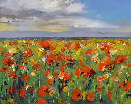 Poppy Field with Storm Clouds by Michael Creese