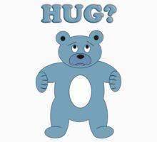 Sad Blue Bear - Hug? One Piece - Short Sleeve