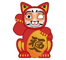 Lucky Daruma Doll Cat Photographic Print