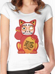 Lucky Daruma Doll Cat Women's Fitted Scoop T-Shirt