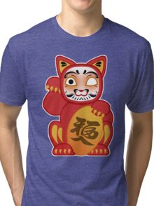 Lucky Daruma Doll Cat Tri-blend T-Shirt