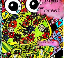 Plush forest coloring book cover by Kaylin Watchorn