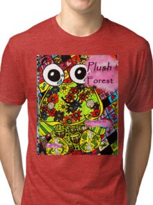Plush forest coloring book cover Tri-blend T-Shirt