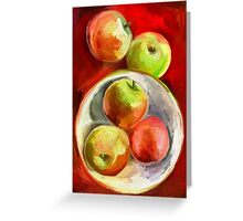 Apples on a Red Platter Greeting Card