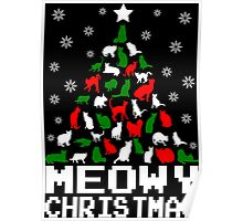 Meowy Christmas Cat Tree Poster