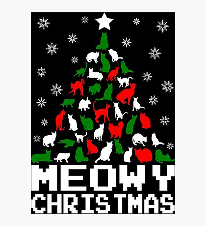 Meowy Christmas Cat Tree Photographic Print