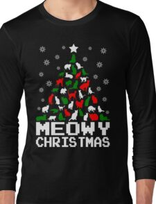 Meowy Christmas Cat Tree Long Sleeve T-Shirt