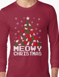 Meowy Christmas Cat Tree Long Sleeve T-Shirt