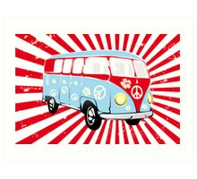 VW T1 van retro illustration Art Print