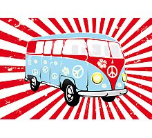 VW T1 van retro illustration Photographic Print