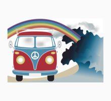 VW T1 van on the beach under rainbow One Piece - Short Sleeve
