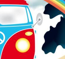 VW T1 van on the beach under rainbow Sticker