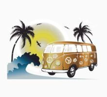 VW T1 on the beach Kids Tee
