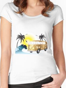 VW T1 on the beach Women's Fitted Scoop T-Shirt