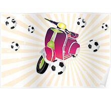 Retro vespa playing football Poster