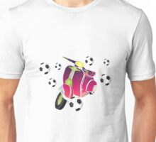 Retro vespa playing football Unisex T-Shirt