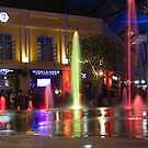 Colorful water jets at Clarke Quay in Singapore by ashishagarwal74