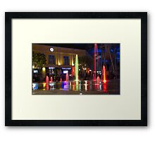 Colorful water jets at Clarke Quay in Singapore Framed Print