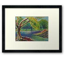 Irvine Park Lake - Plein Air Quick Study Framed Print