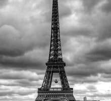 """Canvas: """"The Eiffel Tower"""" dramatic black & white by Kevin Baker"""