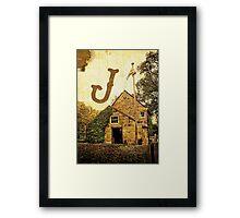"""Grungy Melbourne Australia Alphabet Letter """"J"""" James Cook Framed Print"""