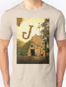 """Grungy Melbourne Australia Alphabet Letter """"J"""" James Cook T-Shirt"""