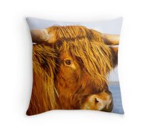 Red Hairy Coo Throw Pillow