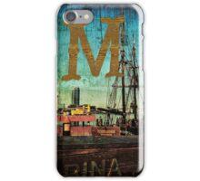Grungy Melbourne Australia Alphabet Letter M Marina Docklands iPhone Case/Skin