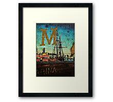 Grungy Melbourne Australia Alphabet Letter M Marina Docklands Framed Print